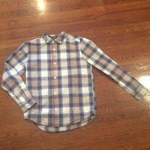 Plaid blue red gray and white button down